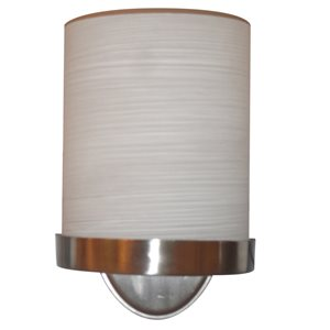 allen + roth Merington 6.5-in W 1-Light Brushed Nickel Hardwired Wall Sconce with Hand Painted Glass