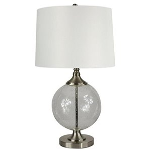 allen + roth Lenihan 27.5-in 3-Way Brushed Nickel Standard Indoor Table Lamp with Fabric Shade (Set Of 1)