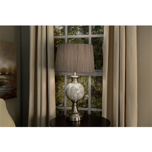 allen + roth 10-in x 15-in Gray Fabric Drum Lamp Shade
