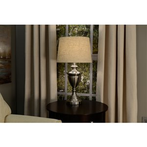 allen + roth 9-in x 13-in Tan Linen Fabric Drum Lamp Shade