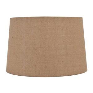 allen + roth 11-in x 17-in Tan Burlap Fabric Drum Lamp Shade