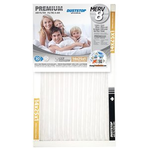 Duststop 14-in x 25-in x 1-in Premium Electrostatic Pleated Air Filter