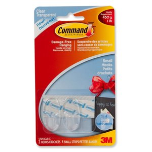 Command 2-Pack Command Clear Small Hooks