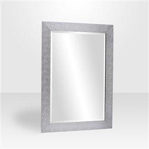 Crinkle Gloss Silver Rectangle Framed Mirror