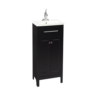Foremost Madison 24-in Vanity with Vitreous China Top and Integrated Sink (Black)
