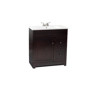Foremost Highland 32-in Single Sink Bathroom Vanity With Cultured Marble Top (Walnut)