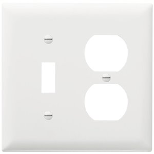 Legrand Trademaster 2-Gang Toggle/Duplex Combination Wall Plate (White)