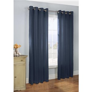 Legacy 84-in Navy Polyester Grommet Light Filtering Single Curtain Panel
