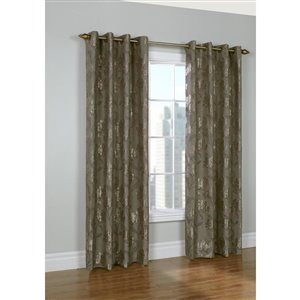 Legacy Embroidered Floral Grommet Curtain 52in x 95in Taupe