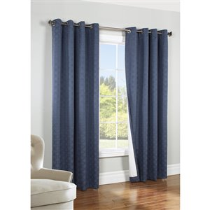 Thermaplus 84-in Navy Polyester Grommet Blackout Thermal Lined Single Curtain Panel