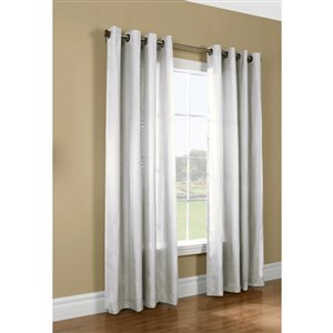 Thermavoile 95-in White Polyester Grommet Room Darkening Thermal Lined Single Curtain Panel