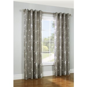 Legacy 84-in Silver Polyester Grommet Light Filtering Single Curtain Panel