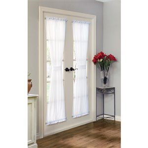 Thermavoile 72-in White Polyester Rod Pocket Room Darkening Thermal Lined Single Curtain Panel