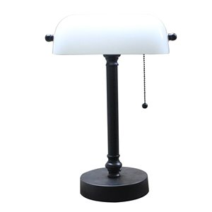 allen + roth 16-in Adjustable Bronze Traditional Standard Desk Lamp with Glass Shade