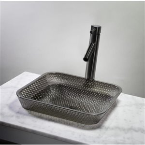 JSG Oceana Cubix Black Nickel Square Glass Vessel Bathroom Sink