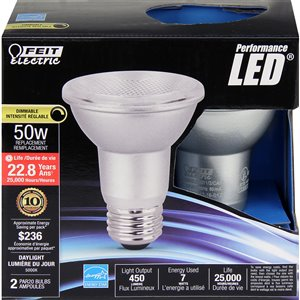 Feit Electric 2-Pack 7-Watt (50 W Equivalent) 5000 Kelvins PAR20 Medium Base (E-26) Daylight Dimmable Indoor LED Flood Light Bulb