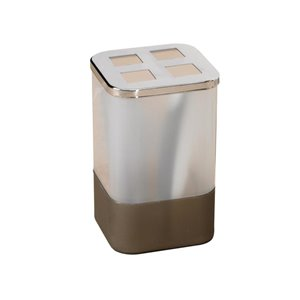 Moda at Home London Clear/Taupe Plastic Toothbrush Holder