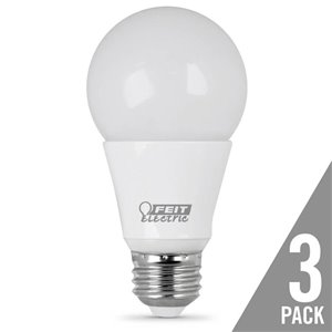 Feit Electric 3-Pack 7.5-Watt (40-W Equivalent) A19 Warm White (3000K) Dimmable LED Bulb