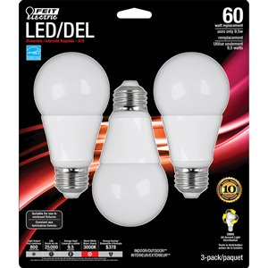 Feit Electric 3-Pack 9.5-Watt (60 W Equivalent) 3000 Kelvins A19 Medium Base (E-26) Dimmable Warm White Indoor Led Bulb ENERGY STAR