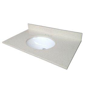 allen + roth 25-in Dove White Quartz Undermount Bathroom Vanity Top