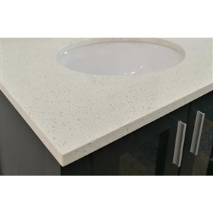 allen + roth 37-in Dove White Quartz Undermount Bathroom Vanity Top
