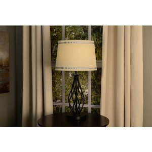 allen + roth 9-in x 13-in Linen Fabric Drum Lamp Shade
