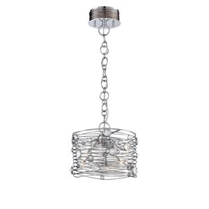 Eurofase Corfo 12.5-in W Chrome Hardwired Standard Pendant Light with Crystal Shade