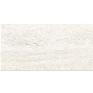 Style Selections 12-in x 24-in Forum Ivory Glazed Porcelain Floor Tile