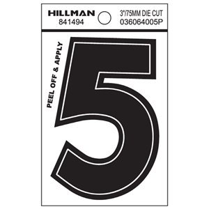 Hillman 3-in Black Vinyl Die-Cut Numbers
