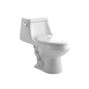 American Standard White 1-Piece Single Flush Elongated Comfort Height Toilet (1.28 GPF)