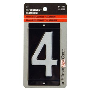 Hillman 3-in White and Black Aluminum Number