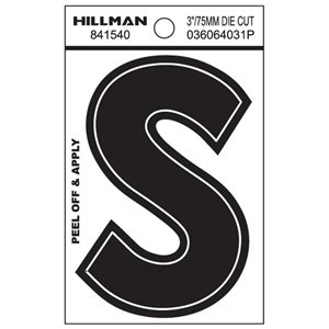 Hillman 4-in Reflective Black House Letter S