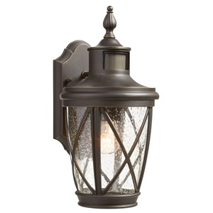 allen + roth Castine 13.78-in H Rubbed Bronze Outdoor Wall Light