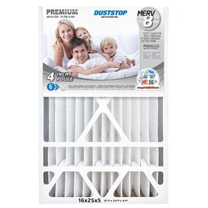 Duststop 16-in x 25-in x 5-in Premium Electrostatic Pleated Air Filter