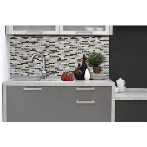 Smart Subway Tile 6-Pack Bellagio Grigio Composite Vinyl Mosaic Subway Peel-And-Stick Wall Tile (Common: 10-In x 10-In; Actual: 10.13-in x 10-in)