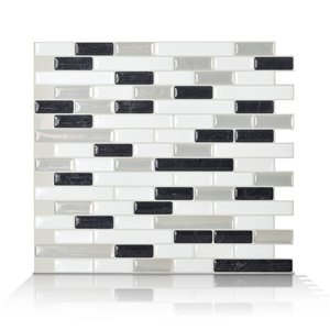 Smart Tiles 6-Pack White Glossy Composite Vinyl Mosaic Linear Peel-And-Stick Wall Tile (Common: 10-in x 10-in; Actual: 9.1-in x 10.2-in)