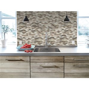 Smart Tiles 6-Pack 9 x 10 Muretto Durango Peel-and-Stick Vinyl Mosaic Subway Wall Tile (Actual Size: 10.25-in x 9.125-in)
