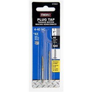 MIBRO 4-40 3-Flute Alloy Steel Plug Tap with Drill Bit