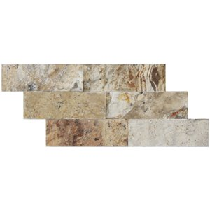 Avenzo 6-in x 12-in Natural Stone Mosaic Subway Wall Tile (6-Pack)