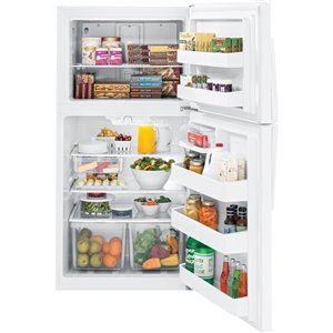 GE 21.2-cu ft Top-Freezer Refrigerator with Optional (Sold Separately) (White) ENERGY STAR