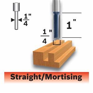 Bosch 1/4-in x 1-in Carbide-Tipped 2-Flute Straight Bit