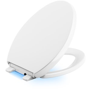 KOHLER Reveal Nightlight Quiet-Close with Grip Tight Elongated , White Battery-operated no electrical cords required Up to 6 months of battery life (uses 4 AA batteries, t included) Elongated Toilet Seat