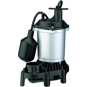 Simer 1/3 HP Thermoplastic Submersible Sump Pump with Tethered Switch