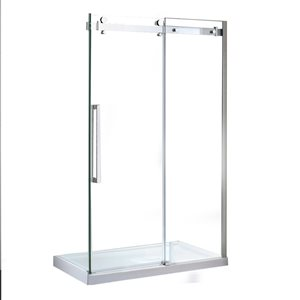 OVE Decors Bel 46.25-in to 46.75-in W x 78.75-in H Frameless Sliding Shower Door