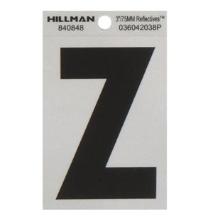 Hillman 3-in Black and Silver Vinyl Reflective Letters