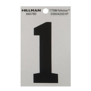 3-in Black and Silver Vinyl Reflective House Numbers