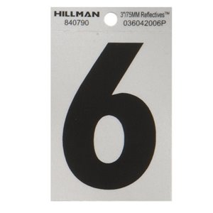Hillman 3-in Black and Silver Vinyl Reflective House Numbers