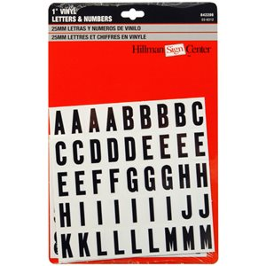 Hillman 1-in Black and White Vinyl Number and Letter Set