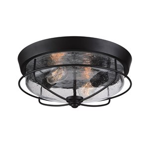 Ashley Harbour 15-in W Matte Black Indoor/Outdoor Flush-Mount Light