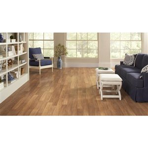 Style Selections Truffle hickory 8.03-in W x 3.96-ft L Embossed Wood Plank Laminate Flooring